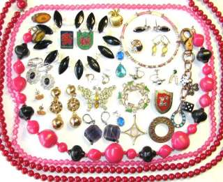 VINTAGE JEWELRY LOT RHINESTONE BUTTERFLY BROOCH BEAD NECKLACE EARRINGS