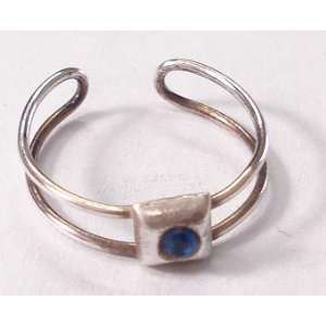 Squre Blue Gem Silver Toe Ring