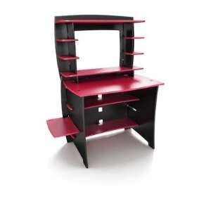 Desk with Hutch in Red and Black Finish Red and Black Office